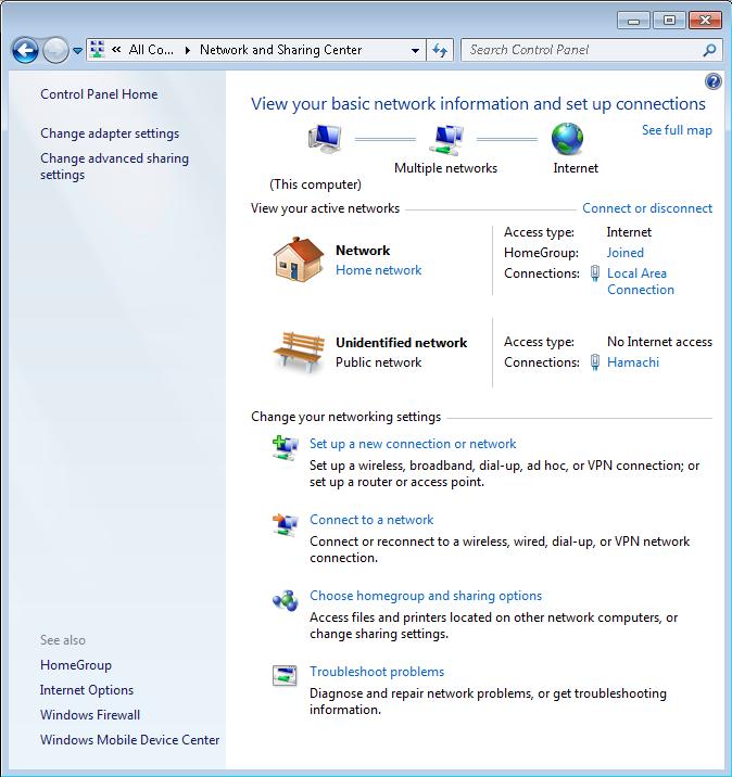 change network type windows 7 unidentified